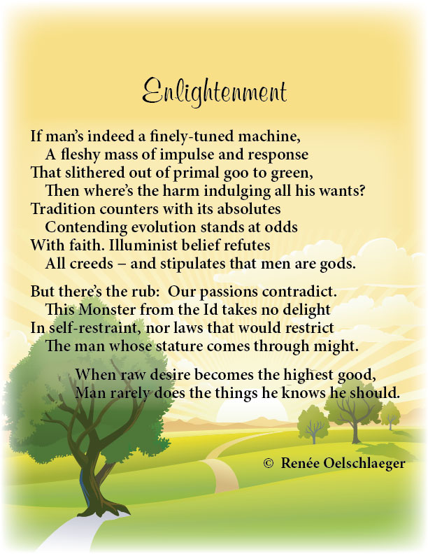 Enlightenment, monster from the id, absolutes, passions, sonnet, poetry, poem