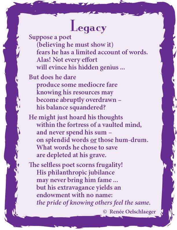 Legacy, poet, poetry, poem, free verse
